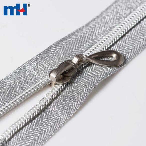 Open end silver teeth zipper