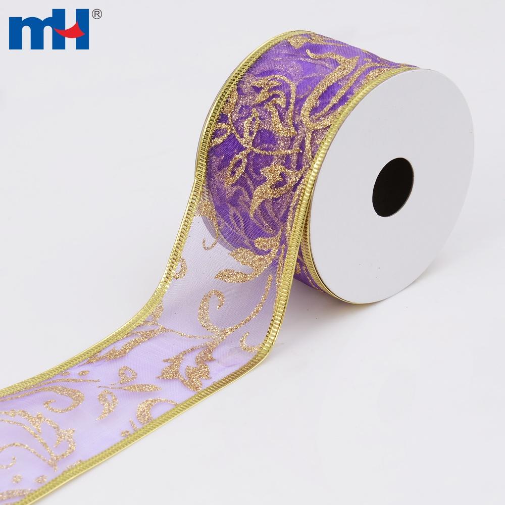 purple wired sheer ribbon