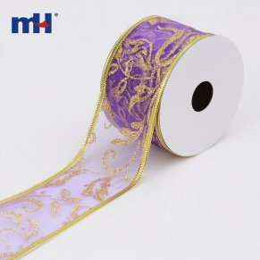 purple wired organza christmas ribbon