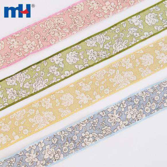 flower printed cotton linen ribbon